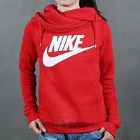 NIKE 20118 autumn and winter new men's fashion trend round neck hooded sweater red