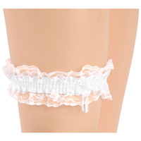 Bridal Garter White w/ Pink Trim