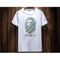 Bape Summer Tide brand reflective print pattern fashion wild short-sleeved T-shirt F-A-KSFZ White