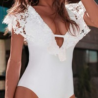 White Patchwork Lace Cut Out Backless Ruffle Deep V-neck Bikini Swimwear