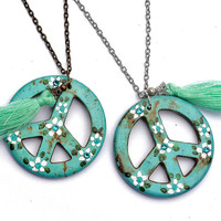 Peace Sign Tassel Necklace Painted Flowers Boho Jewelry FREE SHIPPING