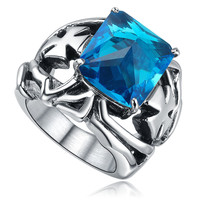 Stainless Steel Blue Cubic Zirconia and Cross Ring