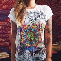 Print Summer Stylish Fashion Strong Character Short Sleeve T-shirts [11182512839]