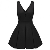 Women Deep V-Neck Pleated Flare Fit Skater Cocktail Party Dress