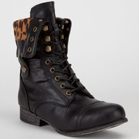 Bamboo Surprise Womens Boots Black/Leopard  In Sizes