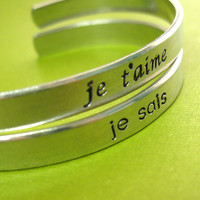Star Wars Bracelets - Set of 2 Han & Leia Cuffs in French - His and Hers - I love you - I know