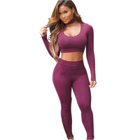 Adogirl Two Piece Set Skinny Jumpsuit Women Sexy Long Sleeve Crop Top And Long Pant Bandage Rompers Club Wear Hollow Out Overall