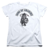 SONS OF ANARCHY/BLOODY SICKLE-S/S WOMEN'S TEE-WHITE-LG