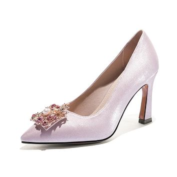 Girls's Chunky Heel Pumps Wedding Shoes Shallow-mouthed