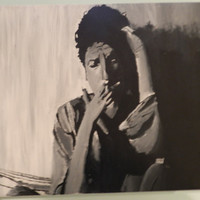 Bob Dylan Black and White Acrylic Painting on Canvas