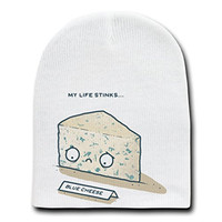 'Blue Cheese' Sad Food Humor - White Beanie Skull Cap Hat
