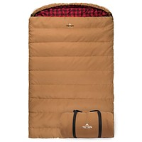 TETON Sports Mammoth Queen-Size Double Sleeping Bag; Warm and Comfortable for Family Camping Brown Canvas 20 Degrees Fahrenheit
