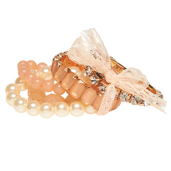 Lacey Bow & Pearls Bracelet Set   Wet Seal