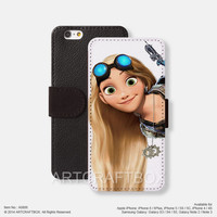 Punk Princess Tangled Tattoo iPhone Samsung Galaxy leather wallet case cover 806