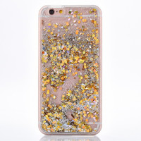 Gold Circle & Silver Cascading Glitter Case for iPhone 7 7 Plus