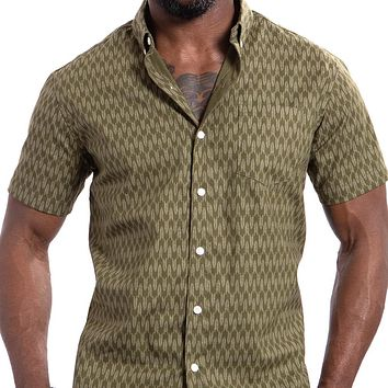 Olive Traditional Japanese Abstract Snake Print Shirt - Adam Sizes S & L Available