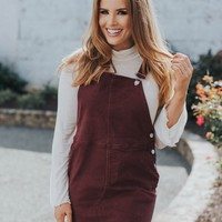 Maybelle Overall Dress, Maroon