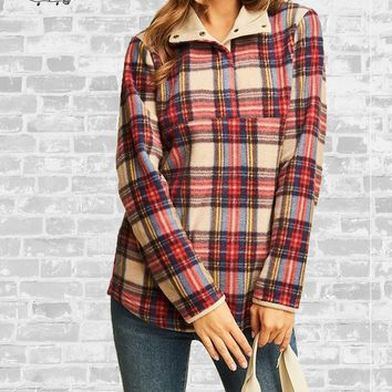 Tartan Plaid Fleece Pullover - Taupe - 1X only