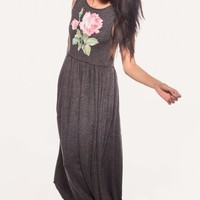 VALLEY ROSE 90'S VALLEY GIRL MAXI DRESS at Wildfox Couture in  - CLEAN BLACK, CHILL PILL