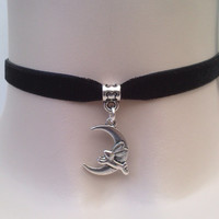 Leaping HARE Crescent MOON Charm Black 10mm Velvet Ribbon Choker.. . or choose another colour please :)