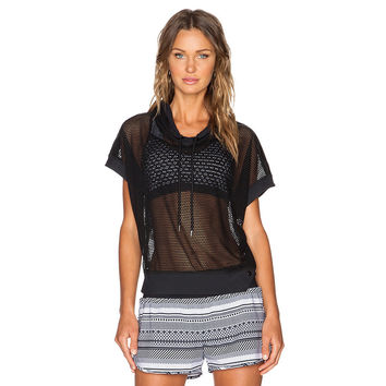 Black Mesh Cover-up Hoodie