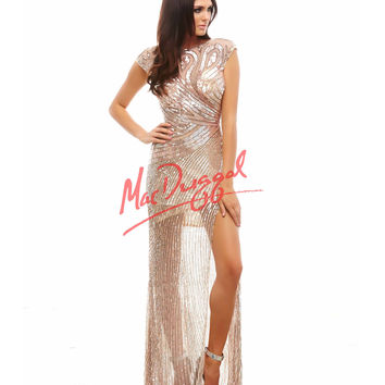 Cassandra Stone by Mac Duggal 4116A Sheer Illusion Nude Sequin Dress 2015 Prom Dresses