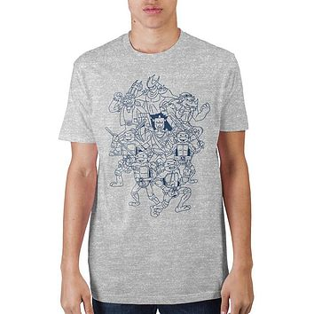 Teenage Mutant Ninja Turtles Character Outline T-Shirt