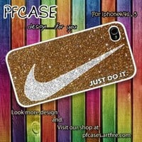 Nike just do it with luxurious glitter Case For Iphone 44s 5 by pfcases12 on Zibbet