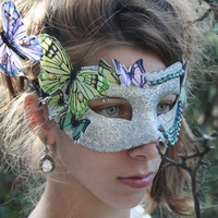 Silver Butterfly Masquerade Ball Mask multicolor butterfly green bead Halloween fairy costume Effie Trinket bridal wedding MADAME BUTTERFLY