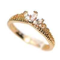 Yellow Gold Plated CZ Dainty Princess Crown Ring