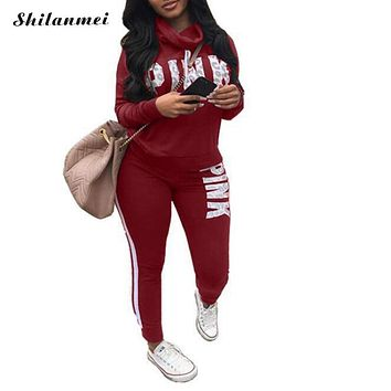 Pink Letter Print Tracksuits Women Two Piece Set 2018 Autumn Long Sleeve Hoodies Tops + Jogger Pants Set Sweatsuit 2pcs Outfits