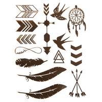 Metallic Boho Temporary Tattoos Gold One Size For Women 25703644201