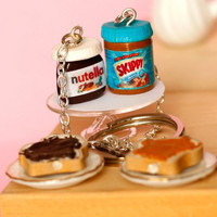 Nutella skippy Miniature food polymer clay keychain with tiny knife and smeared bread