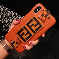 Fendi New fashion letter print leather protective cover phone case