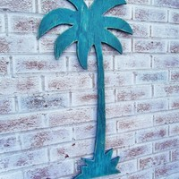 "PALM TREE sign - Large 31"" wood cut out wall art - Swimming Pool decor, Tiki Bar, Destination Beach Wedding"