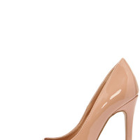 Aisle Be Waiting Taupe Blush Patent Pointed Pumps