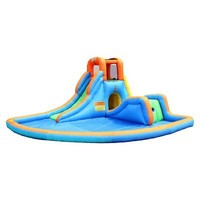 Bounceland Cascade Inflatable Water Slides with Large Pool - Blue/Green/Orange