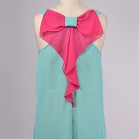 Allison Tank - Mint with Pink Bow