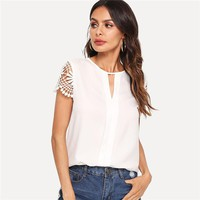 Cap Sleeve Weekend Casual Tops Office Ladies Round Neck Cut Out Pullovers Women Elegant Blouse