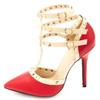 Two-Toned Studded Strappy Pointed Toe Pumps - Red Combo