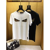 Fendi 2019 new street fashion embroidered sequins small monster glasses men's round neck T-shirt