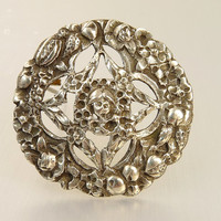 Antique Italian Sterling Silver Brooch Gothic Jewelry