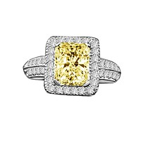2CT Radiant Diamond Veneer Cubic Zirconia Sterling silver Vintage Ring. 635R12825