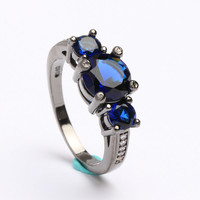 women's Fashion Jewelry Finger Rings Size 6 7 8 9 10 Blue synthetic sapphire New vintage wedding gift Black gold plated Ring