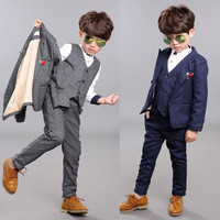 BEIBEI Children Suit Baby Boys Suits Kids Blazer Boys Formal Suit For Weddings Boys Clothes Set Jackets+Vest+Pants 3pcs 3-12YY