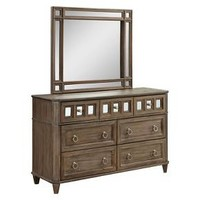 Kayleigh Transitional Mirror Accent Dresser And Mirror Set - Rustic Oak - Furniture Of America : Target