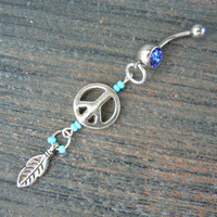 peace sign belly ring peace sign feather blue  in boho gypsy hippie belly dancer beach and hipster style