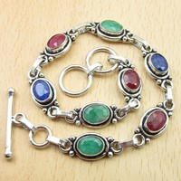 """Silver Plated Rubys, Emeralds, Sapphires Multi Colored Bracelet 8 1/2"""" Jewelry Variation"""