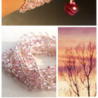 Pink Sunset Boho Wrap Bracelet, 8 Wrap Crocheted Bracelet, or Long Lariat Necklace, Hot Pink Agate, Ruby and Copper Beads, Versatile Jewelry