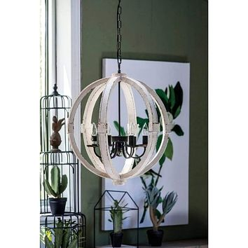 """26"""" 6-Bulb Calder Orb Chandelier With Metal Chain, White By Casagear Home"""